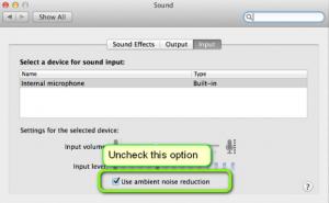 Disabling Ambient Noise Reduction